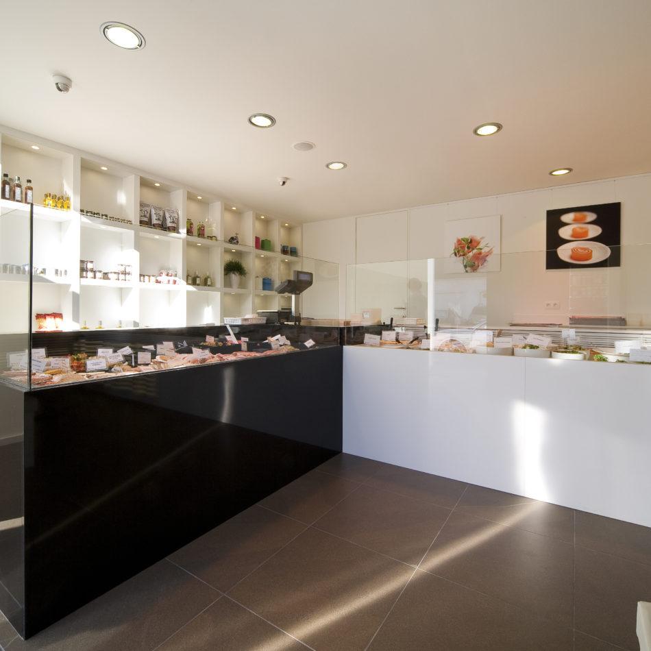inrichting slager traiteur kitchenart koeltoonbank trendy design de pinte integral