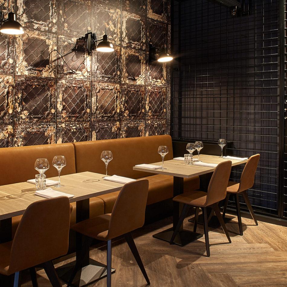 inrichting maison grillades bar bistro restaurant hout staal industrieel tournai integral
