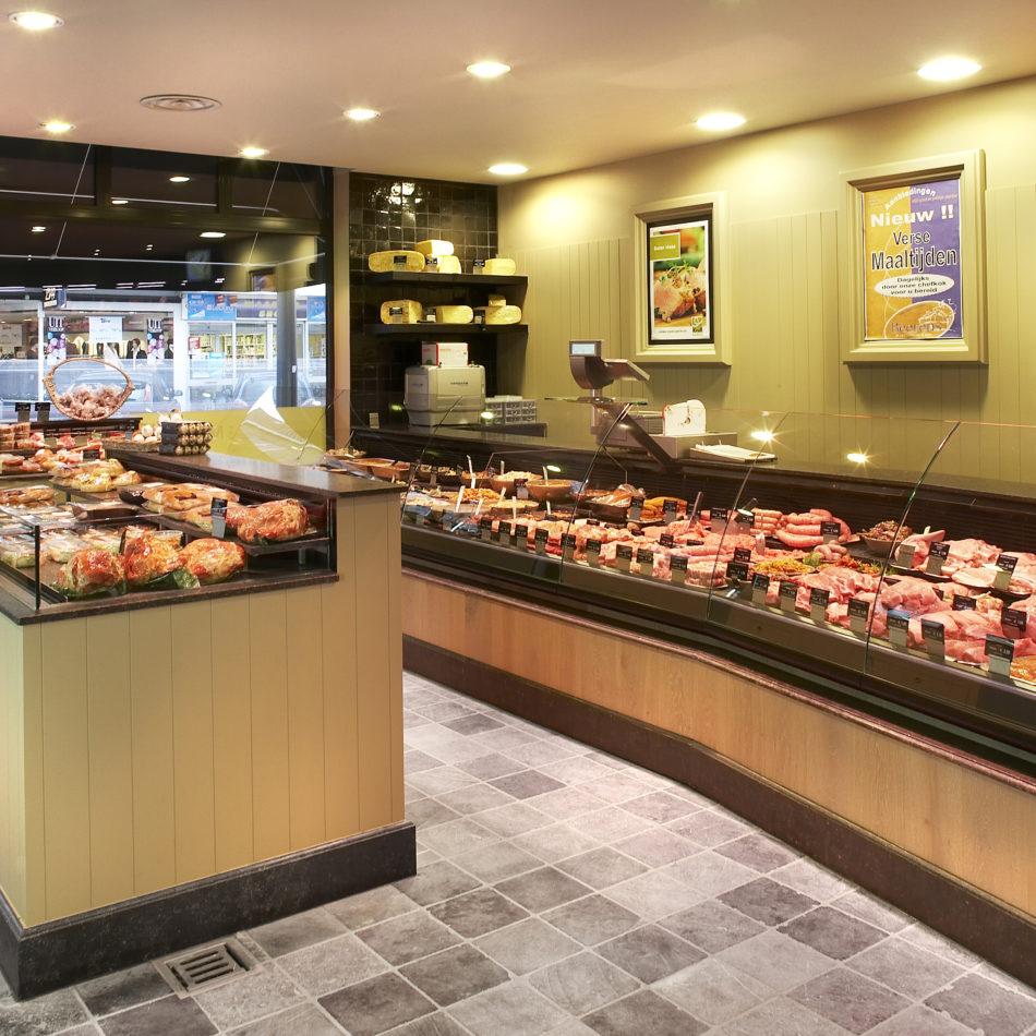 Eiken toonbank koeling slagerij integral winkelinrichting